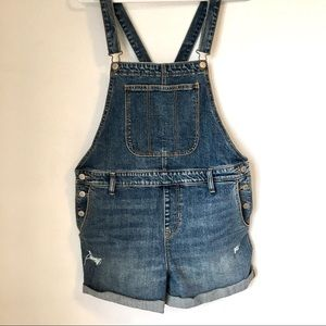 Denim overalls shorts for women